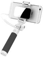 монопод для селфи с зеркалом Rock Mini Selfie stick with wire control & mirror